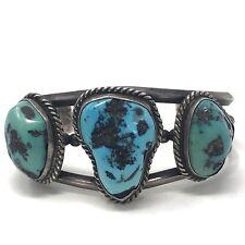 66g 7.25in Sterling Silver Vtg Navajo Cuff Bracelet Natural Kingman Turquoise