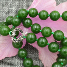 Natural 12mm Taiwan Green Emerald Jade Round Gemstone Beads Necklace 18''
