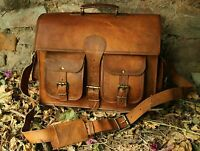NewMen's Real Goat Leather Vintage Brown Messenger Shoulder Laptop Bag Briefcase