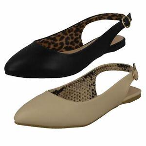 Ladies Spot On Flat Buckle Slingback Microfibre Shoes F8R0461