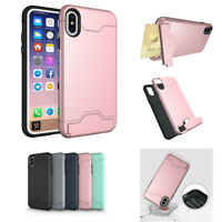 Kickstand Credit Card Slot Protective Case for iPhone 6 6S 7 8 Plus X XS Max XR