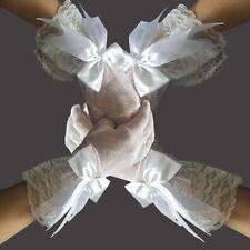 Guanti da sposa sposa bianco rete Guanti con cordino FESTA DI NOZZE hs06w