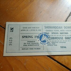 Shenandoah Downs Horse Racing Unused Clubhouse Ticket. Only One I Ever Seen!...