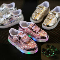 Casual Kids Boys Girls Shoes LED Light Up Luminous Trainers Sport Sneakers