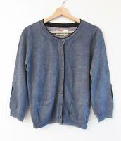 Max & Co Mum's Closet Size L Grey Soft 100% Wool Knit 3/4 Sleeve Button Cardigan