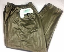 Susan Graver Pants Size L 14-16 Long Liquid Leather Green Sportswear NEW