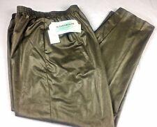Susan Graver Pants Size L 14 16 Long Liquid Leather Green Sportswear NEW