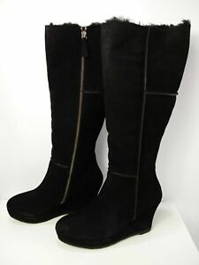 NEW WOMENS BODEN UK 8.5 EU 42 BLACK WEDGE SHEEPSKIN LINED OVER THE KNEE BOOTS