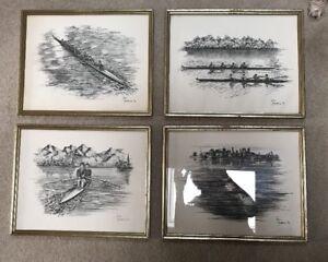 Set Rowing, Sculling, Crew, Vintage Etchings Prints