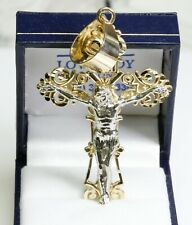 """Crucifix 14K Yellow Gold 3 Dimensional Jesus on the Cross 2"""" Tall 15.5 Grams"""
