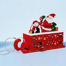 Premier Noël En Bois Calendrier De L'avent - Traîneau Design - 24 Portes