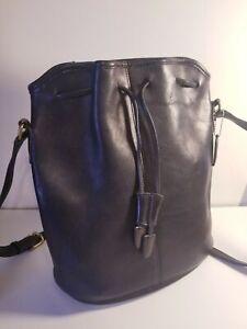 Coach-Vintage Leather Drawstring Bucket Crossbody Bag-Black #A4D-9946