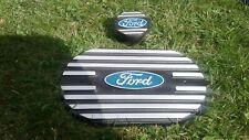 Ford Escort capri etc  alloy  k&n air filter top,&oil cap, blue and black