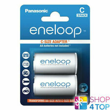 2 PANASONIC ENELOOP BATTERY ADAPTER AA R6 TO C R14 SIZE CONVERTER SPACER CASE