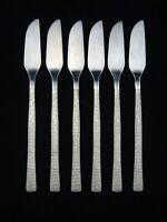 6 VINTAGE DESIGNER VINERS STUDIO GERALD BENNEY STAINLESS STEEL FISH KNIVES