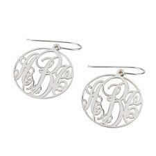 Silver Monogram Earrings Initial Name Pair of Earrings - oNecklace ®