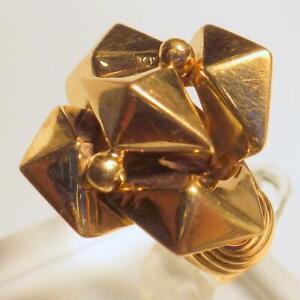 18K Gold Designer Italy Pyramid Vintage 1950s Ring 7.991 Grams Size 9