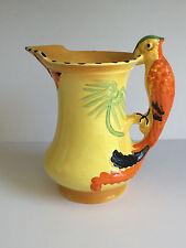 ART DECO English Burleigh Ware PARROT Handle Art Pottery Jug Pitcher c1920s