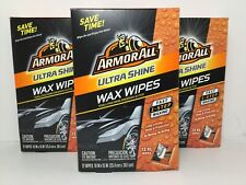 36 Count Armor All Ultra Shine Wax Wipes Fast One Step Car Waxing Long Lasting