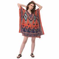 Paisley Printed Women Tunic Kaftan Long Sleeve Casual Mini Boho Beachwear Dress