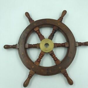Nautical Wood and Brass Ship Steering Wheel Pirate Wall Decor, Fishing Boat Gift