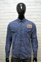 Camicia Blu Uomo NAPAPIJRI Taglia L Maglia Polo Manica Lunga Shirt Men's Casual