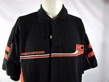 HARLEY DAVIDSON Black Orange Polo Shirt Medium Side Stripes 100% Cotton EUC
