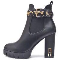 Damen Stiefeletten Chelsea Plateau Ankle Boots Reißverschluss Profil Sohle