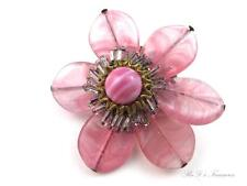 """Vintage Signed MIRIAM HASKELL Pink Art Glass & Beaded Wire FLOWER Brooch 2 1/2"""""""