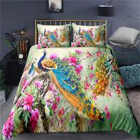 Doona Duvet Quilt Cover Set Single Double Queen King Bed Peacock Floral Linen