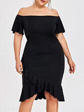 Plus Size XL-5XL New Women Dress Off Shoulder Fishtail Evening Party Dress Black