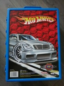 HOT WHEELS cars 48 CARRY CASE snap lid sorting display storage Blue 1:64 2005