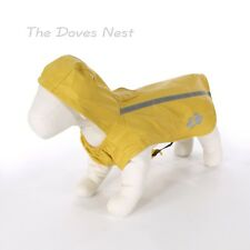 TOP PAW New! X-SMALL YELLOW DOG RAINCOAT with HOOD Reflective Strip BLACK STRAP