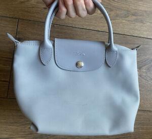 Vgc Auth Longchamp Pliage Grey Leather Trim Mini Tote Grab Bag
