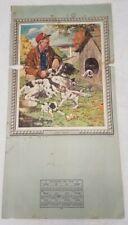 """Original J.F. Kernan Little Sport man w/ dogs 1949 calendar print 44""""x22"""""""