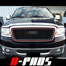 For Ford F-150 2004-2008 Black Steel Wire Mesh Grille with Rivets