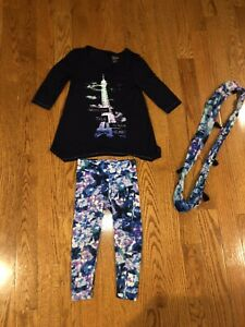 Girls Justice three piece outfit leggings top and scarf size 6