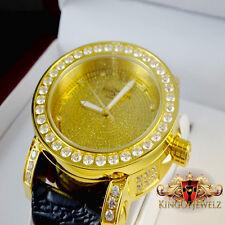 Canary Yellow Khronos Mens Real Diamond Jojino Joe Rodeo 1 Row Bezel Steel Watch