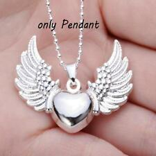 Women Jewelry Heart Angel Pendant Necklace Angel's Wing Silver Plated