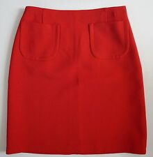 NWT JIL SANDER NAVY Red 100% VIRGIN WOOL Pencil Skirt with Patch Pockets 32 W-26