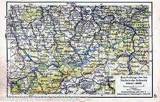 Antique map eastern Ore Mountains 1940 Karte Erzgebirge Sächsische Schweiz