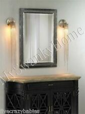 Contemporary Large SILVER LEAF Wall Mirror Vanity Mantle Beaded Modern Luxury