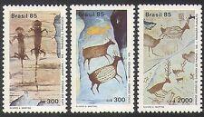 Brazil 1985 Lizards/Deer/Birds/Rock Art/Paintings/Animals/Nature 3v set (n38099)
