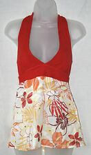 JANE NORMAN (UK8/EU36) HALTERNECK TOP WITH STRETCH TOP WITH FLORAL COTTON BELOW