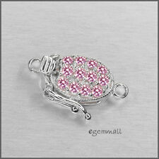 Sterling Silver 1 Strand Oval Box Clasp with Secure Lock CZ Pink #51112