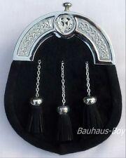 Kilt Sporran noir façade bovins knotwork celtique CANTEL & Thistle Crest kilts