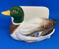 "VTG Otagiri Mallard Duck Card Or Napkin Holder, Excellent! Orig Tag, 5.5"" Long"