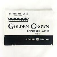 Vintage GE Golden Crown Exposure Meter Type PR-3 Better Pictures Owners Manual