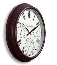 Reloj de Pared al Aire Libre Jardín Barómetro Termómetro Medidor de Humedad 38 cm Color Óxido