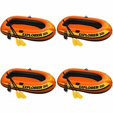 Intex Explorer 300 Compact Inflatable 3 Person Raft Boat w/ Pump & Oars (4 Pack)